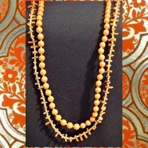 Two Vintage Orange & Gold Bead Necklace